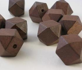 10 Dark Brown Faceted Wood Cube Beads (WB49)