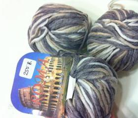 SALE - 3 Balls Roma Italy Yarn 50%Cotton 50% Acrylic (GREY)