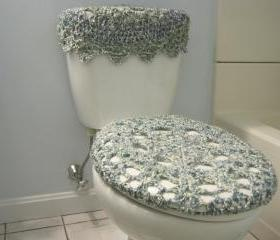 Set of 2 Crochet Covers for Toilet Seat & Toilet Tank Lid, Cozies - Ocean (TSTTL1)
