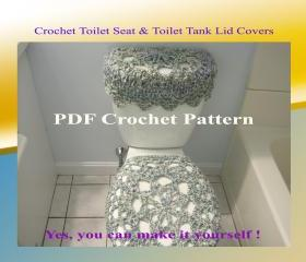 Set of 2 Crochet Patterns - Toilet Seat Cover (1VC2012) & Toilet Tank Lid Cover (2VC2012)