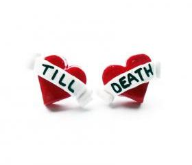 Till Death Tattoo Heart Studs