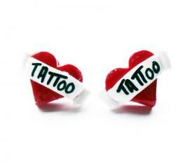 Tattoo Heart Stud Earrings