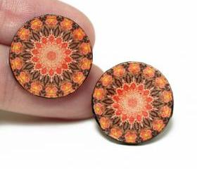 Old School Post Earrings Rosette Mandala , Tangerine Brown, Gift for her under 15