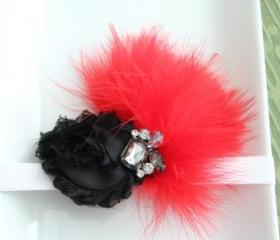 Black & Red Feather Fascinator Headband: Toddler Size