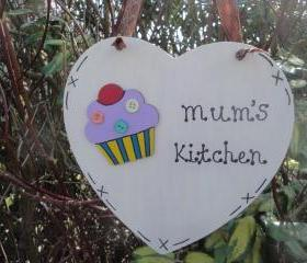 Mum's Kitchen Wooden Heart