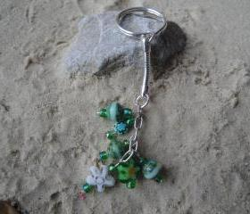 Green Flower Key Charm