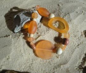 Orange-Wood Chunky Bracelet