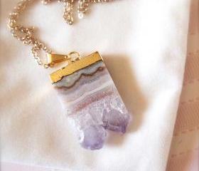 Jessica -- Natural Geode Necklace - Gold Jewelry, Druzy Pendant, Natural Crystals, Everyday Accessories, Classic Chic, Poised, Layering