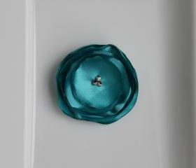 Teal Burnt Satin Flower 4pcs.