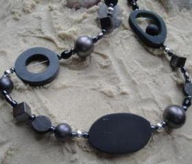 Jewelry, Necklace, Beaded, necklace, black, chunky, beaded, beads, bead, handmade, jewellery