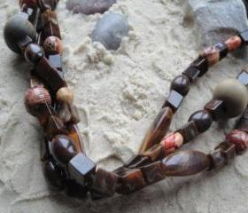 Brown Multi-Strand Necklace