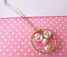 Lil' Ring of Garden Necklace - 14K gold, Gold-plated Ring pendant, Clay Rose, Freshwater Pearls