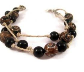 Bracelet, Tibetan Agate Gemstones Tied on Hemp Cord, Closes with A Silver Lobster Clasp, Hunter Green, Browns, and Tans