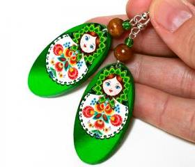 Matryoshka Russian doll Earrings - decoupage earrings - brown orange - double faced