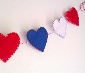 Jubilee/Independence Day/Olympics Decorations - Hearts blue white red - Ornaments/decor/garland/bunting/banner