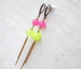 Earrings neon jade drop earrings raw brass chain dangle earrings stone earrings neon earrings leverback earrings