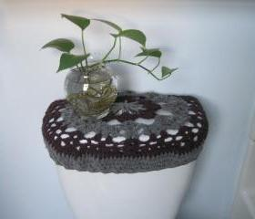 Crochet Toilet Tank Lid Cover or Toilet Seat Cove - Plum heather/true grey (TSC1H or TTL1H)