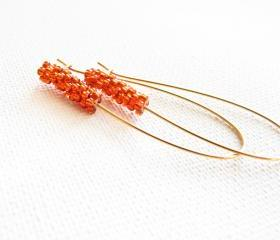Burnt orange chic earrings. Spring summer 2012 Beaded beads jewelry