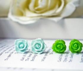 Sale. Light Blue And Green Rose Flower Earring Set. Stainless Steel Posts.
