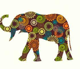 Elephant Wall Decals with circle and flower patterns