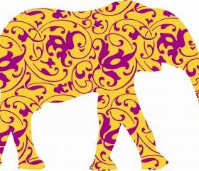 Elephant Wall Decals with Decorative Fills