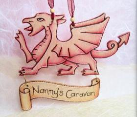 Welsh wooden dragon with personalised scroll - pyrographed