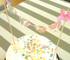 Vintage Inspired Pink and Blue Cake Bunting/Cake Topper