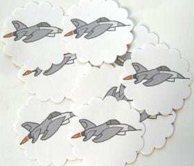 Fighter Jet Embellishments/Tags/Favors - Set of 10