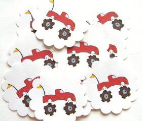 Red Monster Truck Embellishments/Tags/Favors - Set of 10