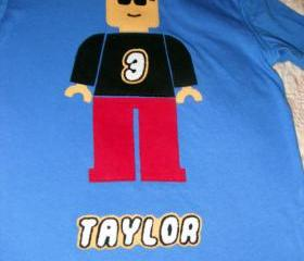Minifigure Birthday Shirt with Name- Custom Hand Cut Applique on Blue Shirt