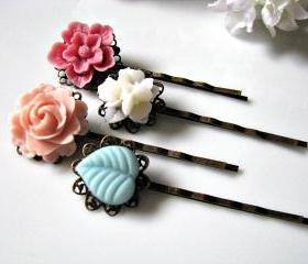 Garden Of Posies - Shabby Chic Bobby Hair Pins