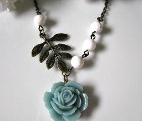 Indicolite Blue Layered Peony With Disco Faceted White Jade And Vintage Leafy Branch Necklace