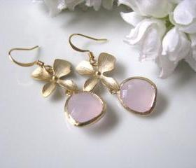 Orchid And Pink Rose Cut Glass Earrings In Gold