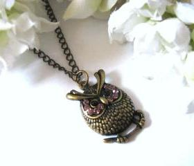 Little Whimsical Antiqued Owl Necklace