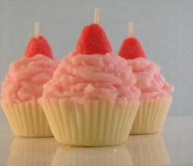 4 Pink Strawberry Shortcake Scented Mini Cupcake Candles Made with all natural soy wax