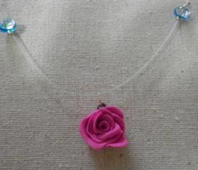 Pretty Pink Rose Necklace