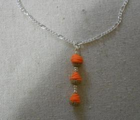 Orange Butter-cream Cupcake Necklace