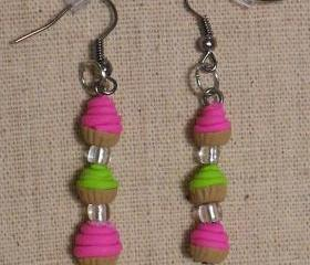 Pink and Lime Green Butter-cream Cupcake Earrings