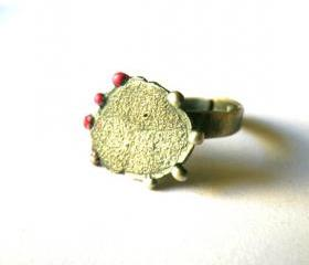 Bubbles texture ring sterling silver-Adjustable ring-Numbers-Hot pink bubbles-lost wax method-Modern design-Oxidised-Gift for her