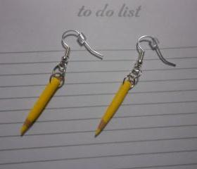 Yellow Pencil Crayon Earrings