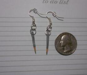 Silver Pencil Crayon Earrings