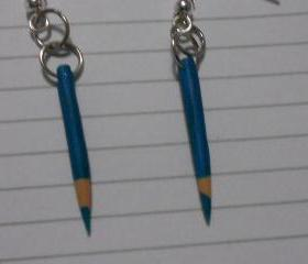 Teal Pencil Crayon Earrings