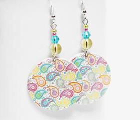 Paisley Earrings - Pastel palette - Medium size 3cm Ø - double faced