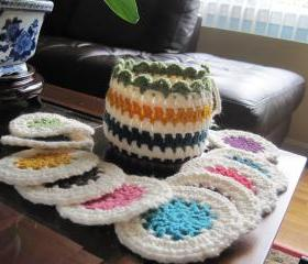 Set of 10 cup coasters with a basket (CC3)