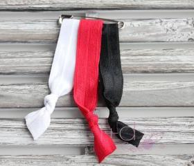 Red, White & Black Elastic Hair Ties - 3pk