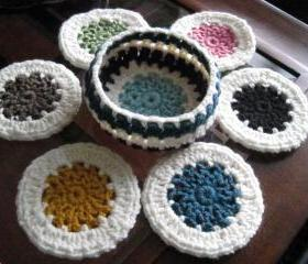 Set of 6 cup coasters with a basket (CC4)