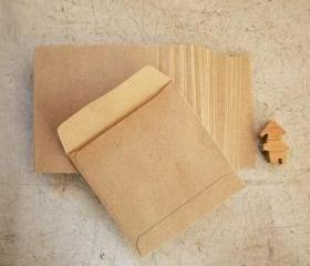 set of 100 recycle kraft paper gift bag square 9.5cmX9.5cm great for card or organizer your stationary