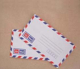 ♥ Set of 20 vintage style french airmail flat envelopes with printed inside self glue 16cm X 9cm ♥