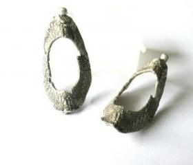 Sterling silver textured hoops-Lace texture ear studs-Oval earrings-Modern design-Large hoop