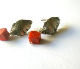 Coral Ear Studs Oxidised Sterling Silver Textured Petals Red-Lost wax method